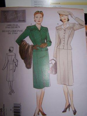 Vogue Vintage Original 2198 1944 Design Jacket and Skirt Sewing Pattern size 14