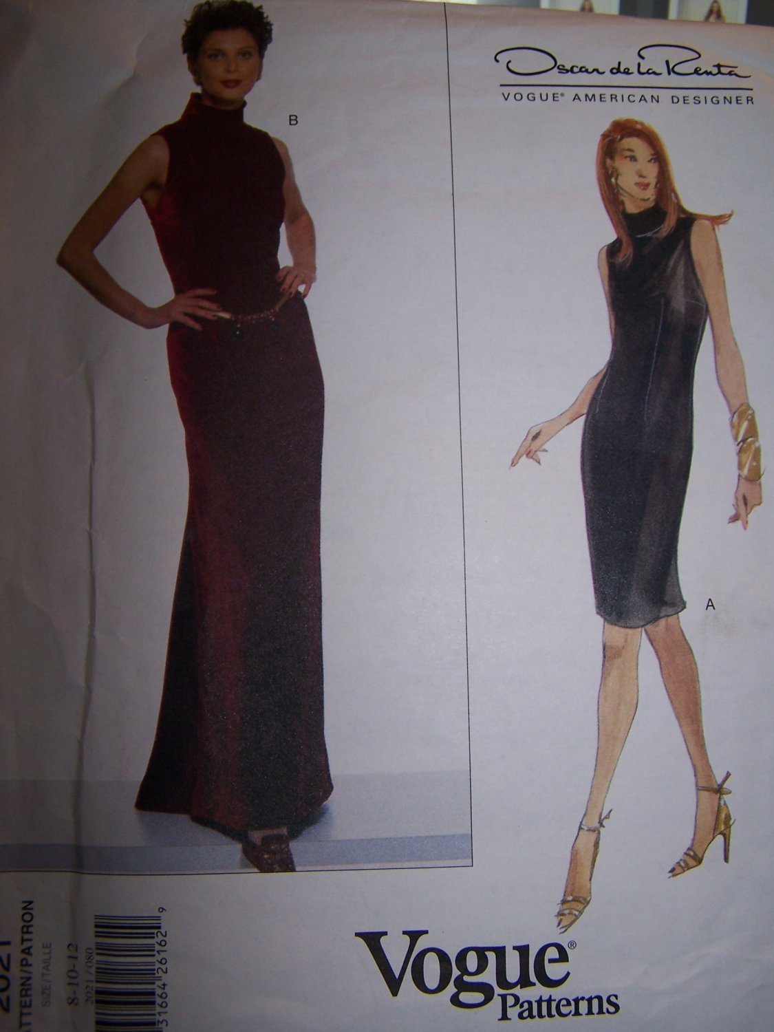 Vogue 2021 Sewing Pattern Oscar de la Renta Dress Sizes 8-12