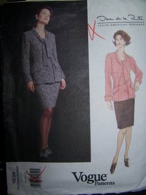 Oscar de la Renta Jacket & Skirt Vogue Sewing Pattern 1839 sizes 14-18