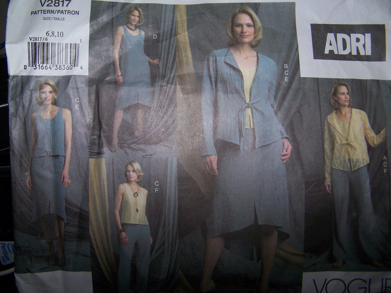 Adri Jacket, Top, Pants & Skirt Vogue Sewing Pattern 2817 sizes 6-8-10