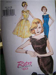 Butterick 6582 Retro 60  Dress SHeath or Full Skirt Sizes 12-16