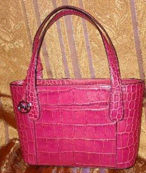 Monsac Petite Croc Handbag in Magenta