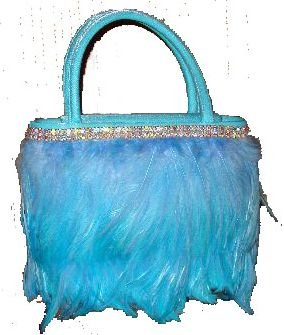 Authentic Lauren Scherr Cosette Feathered Bag in Aqua