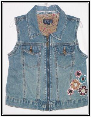 TCP The Children's Place Denim Jean Flower Vest 7 8