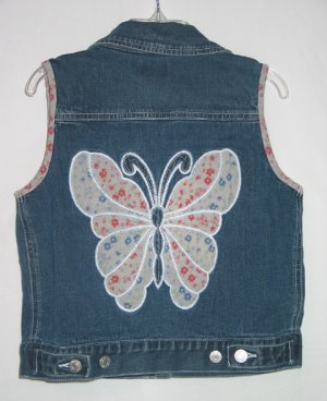 TCP The Children's Place Denim Butterfly Vest 7 8