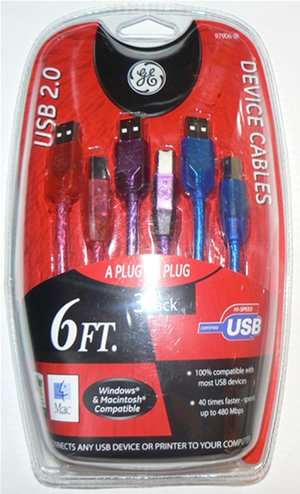 GE 3 Pk USB 2.0 Device Cables 6FT Colored (1 Red, 1 Blue, 1 Purple) A to B - Printer, Scanner - NIP