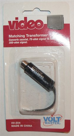 Video Matching Transformer Coverts Coaxial, 75-ohm Signal to Twin-Lead 300-ohm - NIP + Free Ship