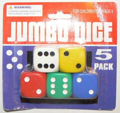 "NEW 5 Party Casino Game RPG Bunco Bunko Jumbo Dice Set 5 Colors (1"" inch) - NEW!"