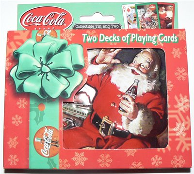 COCA-COLA COKE COLLECTOR TIN BOX + 2 PLAYING CARD DECKS - LIMITED EDITION - SANTA CLAUS #739-M2
