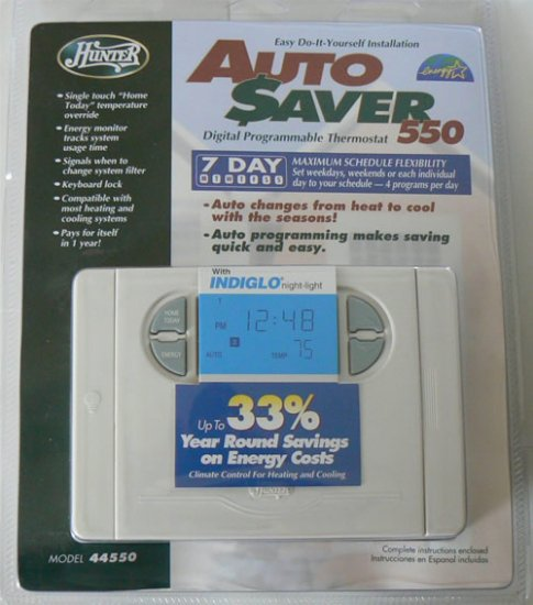 HUNTER 44550 7-DAY PROGRAM DIGITAL THERMOSTAT - NIP