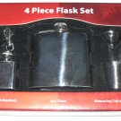 4 PC Stainless Flask Set - 4 oz Flask + Mini Flask w Keychain + Measuring Cup and Funnel - NIB + FS