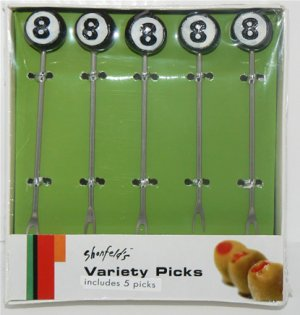 SHONFELD'S 8-BALL GARNISH PICKS 5-PK NEW & UNOPENED + FREE SHIPPING