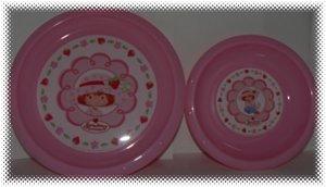 New Strawberry Shortcake Pink Children's 2PC Dinnerware Dish Set Plate & Bowl - FREE SHIPPING