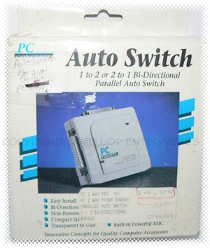 PC Concepts 1 to 2 or 2 to 1 Bi-Directional Parallel Auto Switch - Retail - NIP & FREE SHIPPING