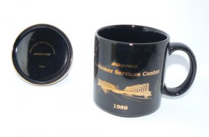 BOEING Customer Service Center Logo Coffee Mug & Coaster Black - NIB + FREE SHIPPING