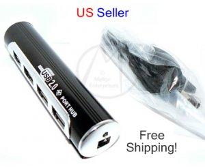 4 Port USB 2.0 Hub Aluminum High Speed 480Mbps Black Tube + USB Cable - FREE SHIPPING