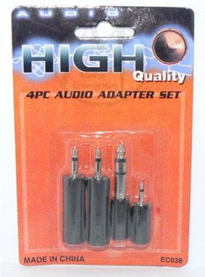 "Stereo Audio Adapter Kit (Set of 4 adaptors) 2.5mm 3.5mm 1/4"" 6.3mm - NIP + FREE SHIPPING"
