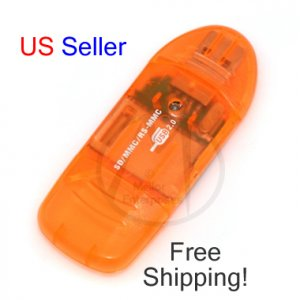 NEW USB 2.0 4-IN-1 SD SDHC MMC RS-MMC Memory Card Reader & Writer Bulk - Orange - FREE SHIPPING