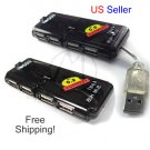4 PORT HIGH SPEED MINI USB 2.0 HUB LAPTOP PC Slim Hub + FREE SHIPPING