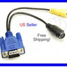VGA to TV  AV RCA S-Video Adapter Converter Cable - NIP + Free Shipping!