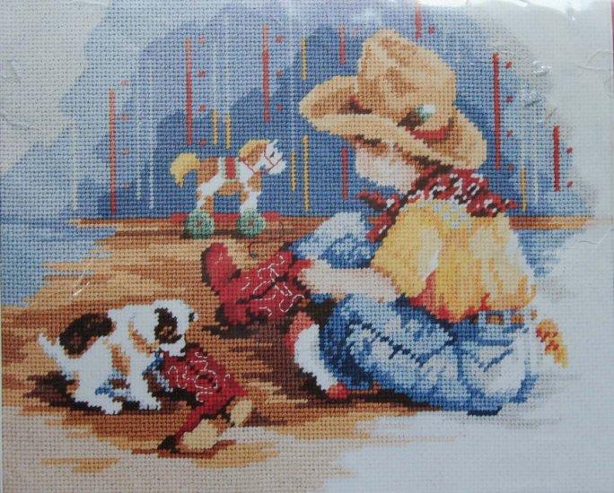 Little Buckaroo Needlepoint Kit by Linda Gillum cowboy boots hat boy puppy 528