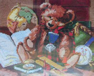 Heirloom Bear needlepoint kit by Nancy Rossi from Janlynn Teddy Bear 797