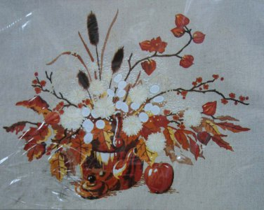 Autumn Still Life by Roger Reinardy vintage crewel embroidery kit fall floral Unopened 2093