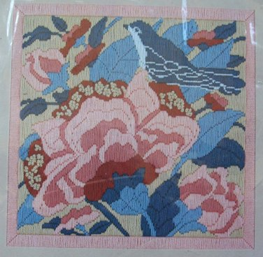 Bluebird and Blossoms by Jinice from Sunset vintage longstitch needlepoint kit floral Unopened 1037