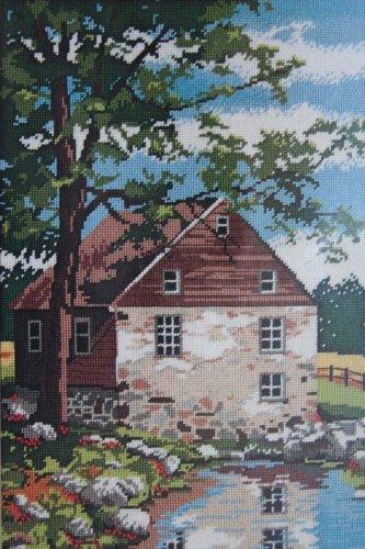 Springtime Reflections by Mildred Sands Kratz vintage needlepoint kit rustic rural Unopened 2081