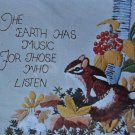 The Earth Has Music by Erica Wilson crewel kit vintage woodland chipmunk floral flowers 1137