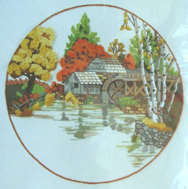 Fall Mill Pond by Charlene Gerrish vintage crewel kit rustic water wheel autumn Unopened 2062