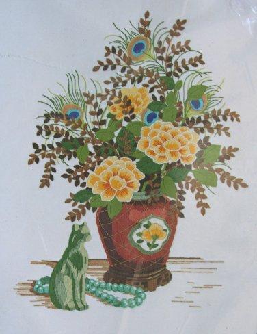 Oriental Art Treasures by Charlene Gerrish crewel kit jade cat flowers in vase Unopened 2074