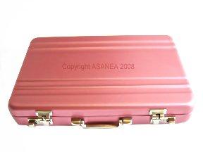 METAL CARD HOLDER / ID HOLDER / KEY CASE - BRIEFCASE DESIGN LIGHT PINK ECBCH-A1004