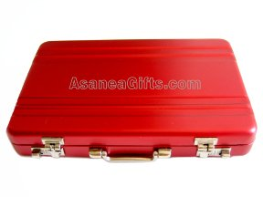 BUSINESS CARD HOLDER / CARD CASE / PILL BOX - MINIATURE BRIEFCASE DESIGN RED ECBCH-A1003