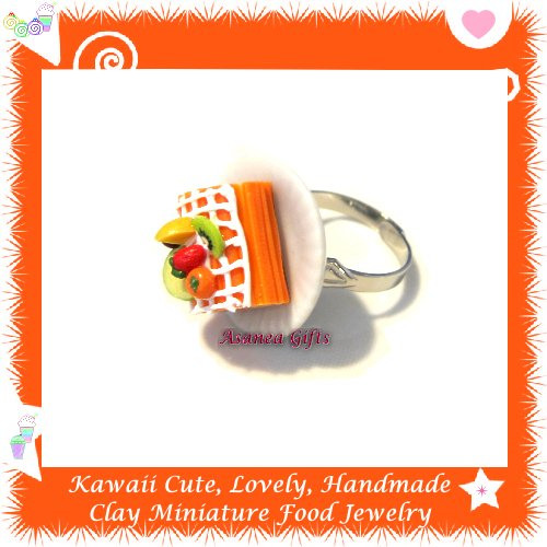 FOOD JEWELRY - HANDCRAFTED MINIATURE ORANGE ROLL CAKE PENDANT RING ECMFJ-RG2008