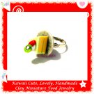 FOOD JEWELRY - HANDCRAFTED MINIATURE CAKE SLICE ON PLATE PENDANT RING ECMFJ-RG4002