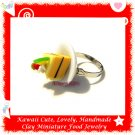 FOOD JEWELRY - HANDCRAFTED MINIATURE CAKE SLICE ON PLATE PENDANT RING ECMFJ-RG4001