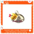 FOOD JEWELRY - HANDCRAFTED MINIATURE CAKE SLICE ON PLATE PENDANT RING ECMFJ-RG1021