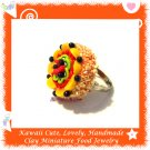 FOOD JEWELRY - HANDCRAFTED MINIATURE PEACHES AND STRAWBERRY CAKE PENDANT RING ECMFJ-RG2001