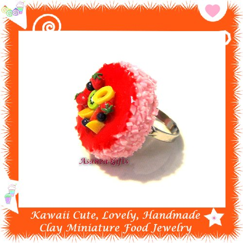 FOOD JEWELRY - HANDCRAFTED MINIATURE STRAWBERRY CAKE PENDANT RING ECMFJ-RG2002