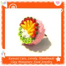 FOOD JEWELRY - HANDCRAFTED MINIATURE STRAWBERRY PEACH KIWI BIRTHDAY CAKE PENDANT RING (ECMFJ-RG2006)