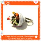 FOOD JEWELLERY - HANDCRAFTED NEOPOLITAN ICE CREAM BOWL PENDANT RING ECMFJ-RG3004