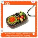 FOOD JEWELRY - LOVELY MINI KIWI PIE COFFEE AND FRUIT PENDANT NECKLACE ECMFJ-PE2002