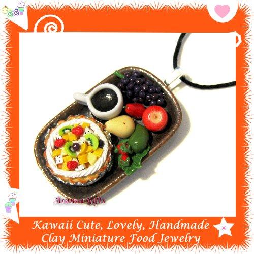 FOOD JEWELRY - LOVELY MINI TROPICAL FRUIT PIE COFFEE AND FRUIT PENDANT NECKLACE ECMFJ-PE2004