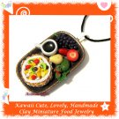 FOOD JEWELRY - LOVELY MINI TROPICAL FRUIT PIE COFFEE AND FRUIT PENDANT NECKLACE ECMFJ-PE2004