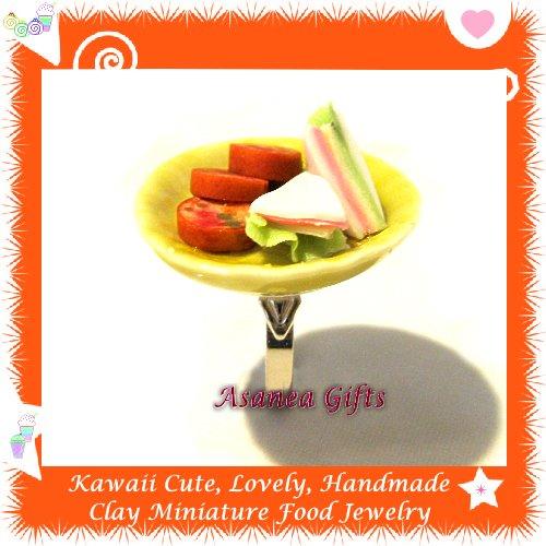 HANDCRAFTED JEWELRY - MINI SANDWICH CAKE PLATE PENDANT RING ECMFJ-RG1015