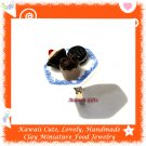 HANDCRAFTED JEWELRY - MINI CHOCOLATE BROWNIE SNACK PLATE PENDANT RING ECMFJ-RG1027