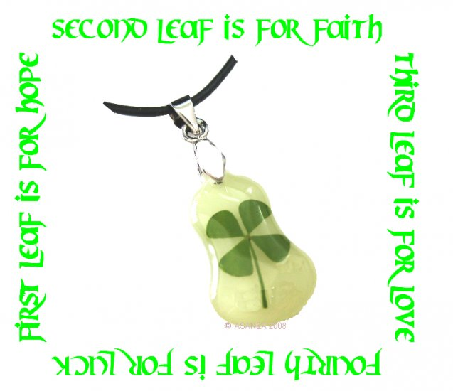 GLOW IN THE DARK BELL SHAPED FOUR LEAF CLOVER NECKLACE ECFLC-NP2003