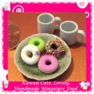 DONUT TIME SET - HANDMADE POLYMER CLAY FOOD FOR DOLLS HOUSE OR MINIATURISTS ECDMF-BK2014