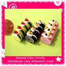 LOG CAKE SET - HANDMADE POLYMER CLAY FOOD FOR DOLLS HOUSE OR MINIATURISTS ECDMF-CK6001